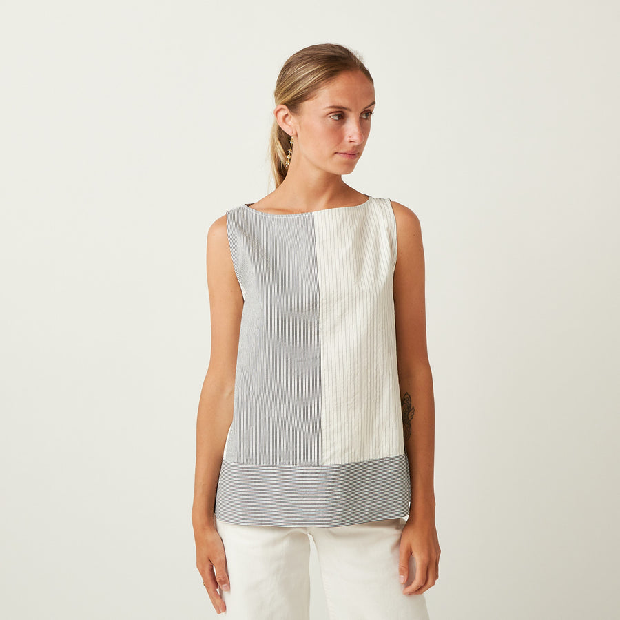 Apuntob Sleeveless Cotton-Silk Top