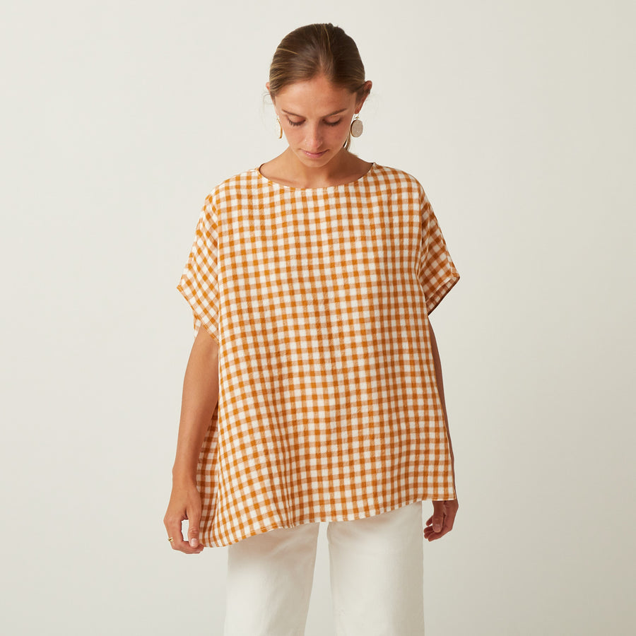 Apuntob Drop Shoulder Gingham Top