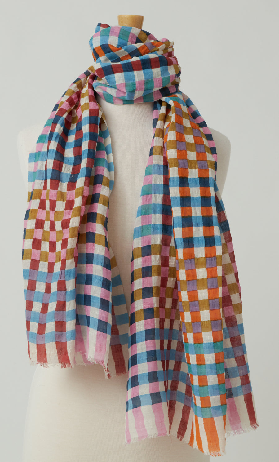 Epice Check Scarf in Linen and Cotton