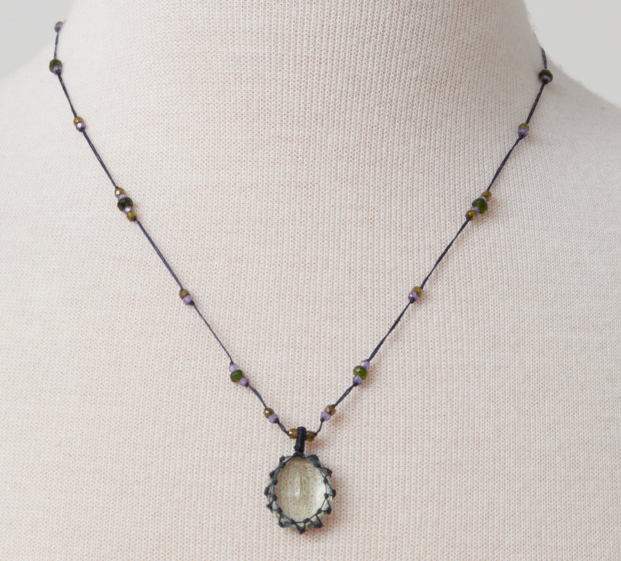 Short Necklace with Green Amethyst