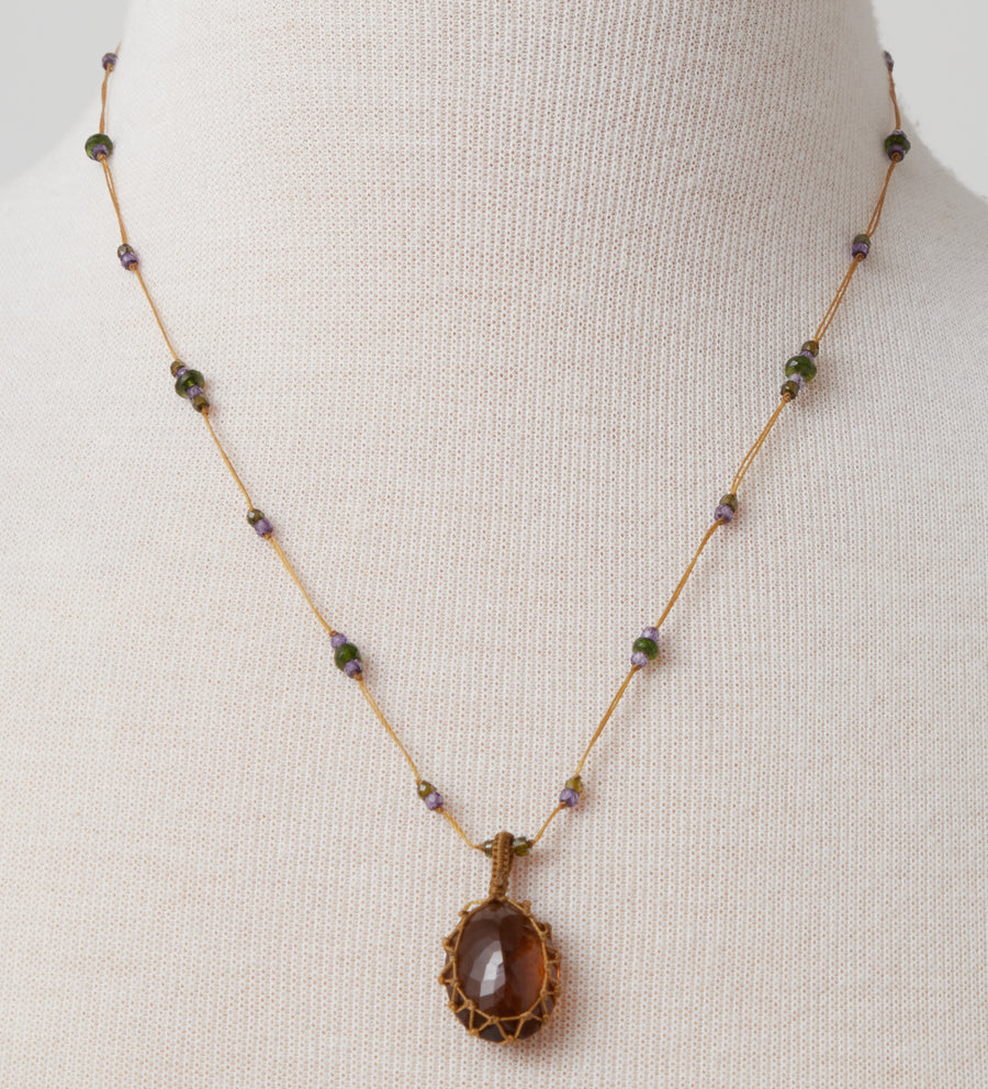 Short Necklace with Honey Quartz