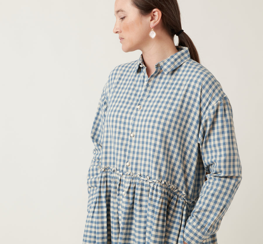 Ichi Antiquities Gingham Button Down Dress