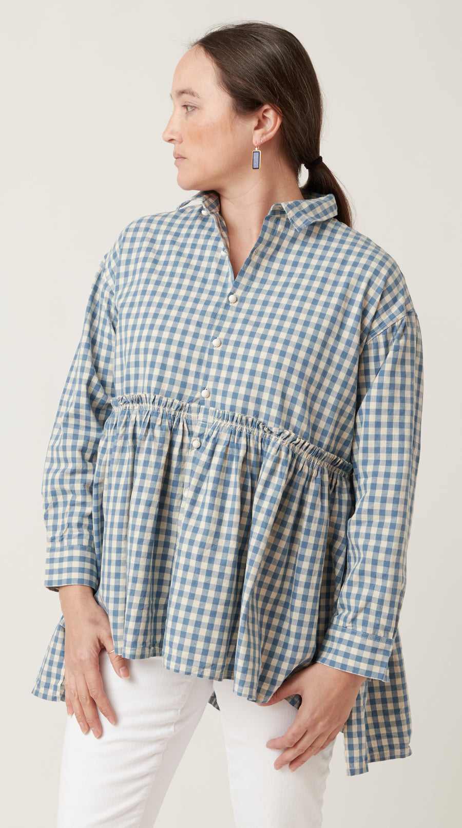 Ichi Antiquities Gingham Gather Waist Top Light Blue