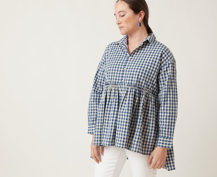 Ichi Antiquities Gingham Gather Waist Top Navy