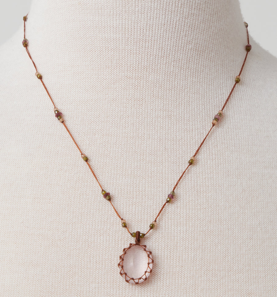Short Necklace with Pink Quartz