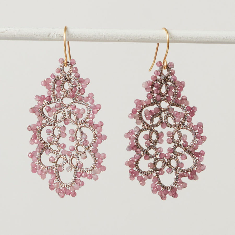 Pink Tourmaline Lace Earrings