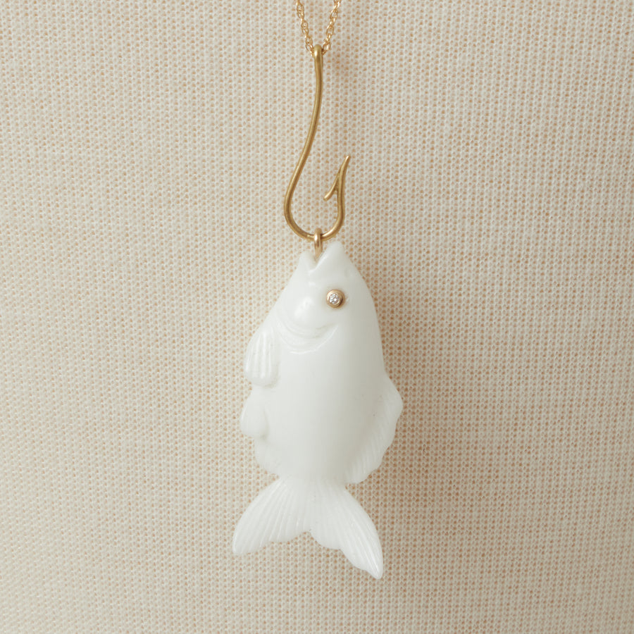 Annette Ferdinandsen White Agate Fish Necklace