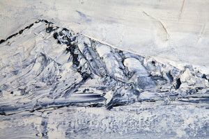 Created by Canadian-Armenian artist, Zari Kazandjian, BLUE LER is a modern abstract of a mountain range, reminiscent of Armenia.