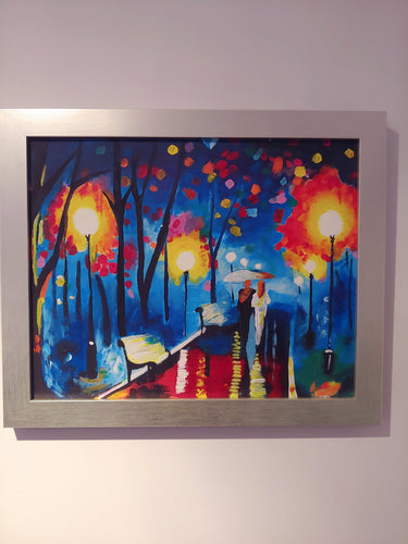 Central Park After Dark, Acrylic on canvas board, by/Anya, Dimensions: 18