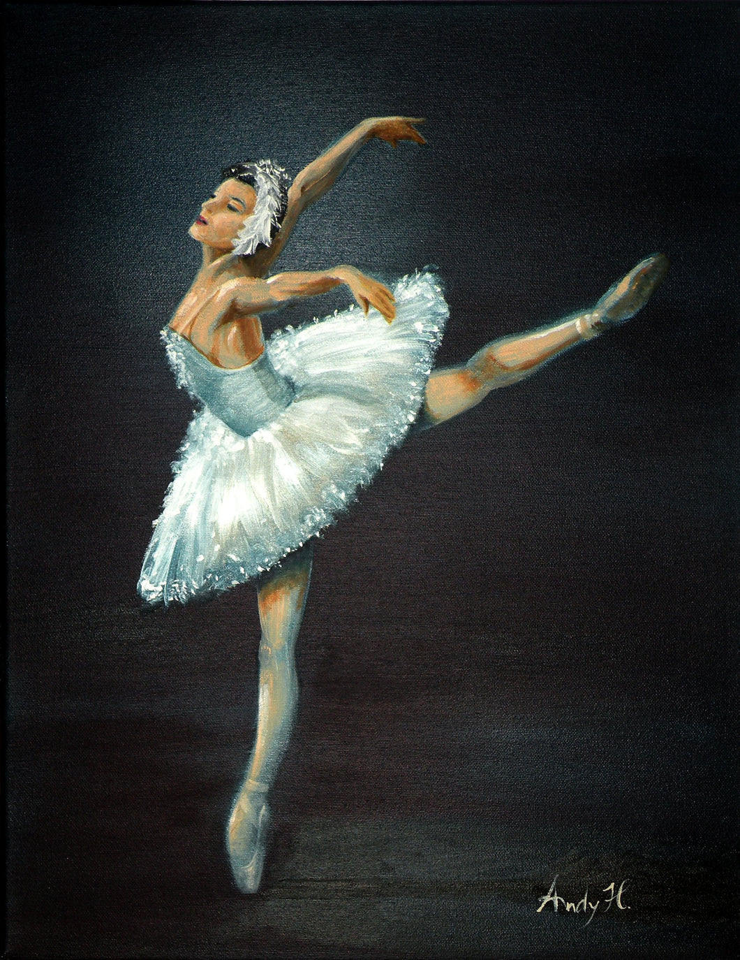BALLET DANCER / Original  canvas painting By Andy Habib