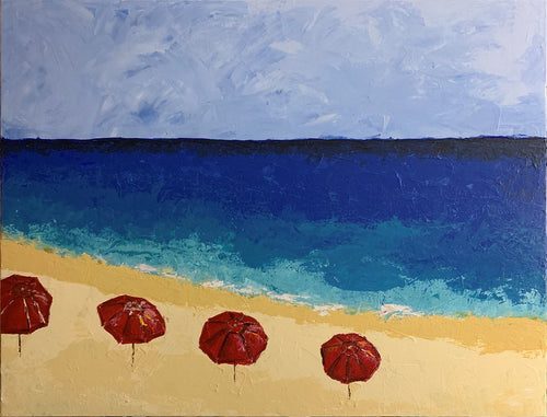 RED BEACH UMBRELLAS - By Andy Habib