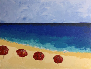 RED BEACH UMBRELLAS / Original Canvas Painting- By Andy Habib