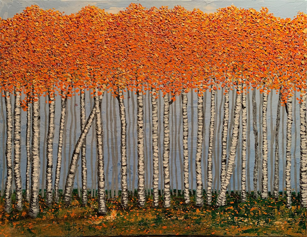 BIRCH FOREST / Original canvas painting By Andy Habib