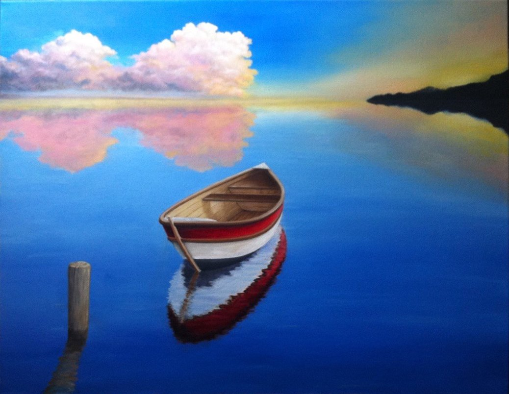 PEACEFUL BOATING / Original Canvas Painting  - By Andy habib