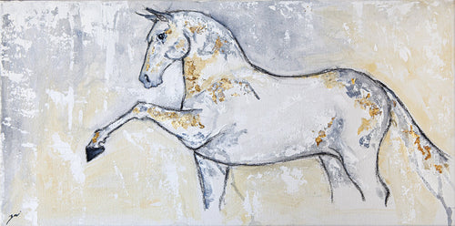 Horses are my passion. Living on a farm surrounded by them I delved into their form. I want to show their majesty and magnificent while emphasizing their soft kindness and vulnerability. They are truly honest creatures that are full of wonder.  BONUS: Framed and ready to hang  Artist: Zari Kazandjian  Medium: Acrylic, metallic leaf on canvas  Dimensions: 12