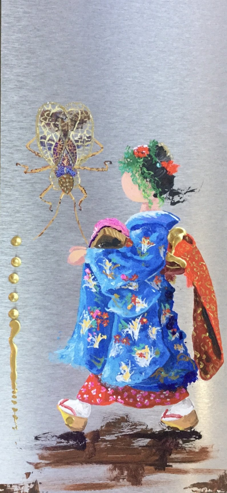 KIMONO 2 /  Original Painting On Aluminum  - By Pauline Paquin