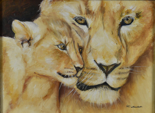 LIONESS & CUB / Original Canvas Painting - By Natty Pacheco