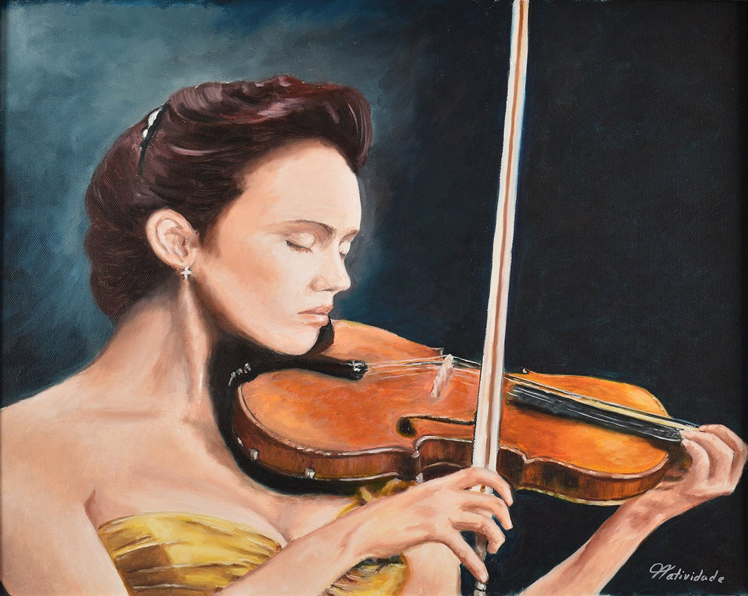 VIOLONIST / Original Canvas Painting  - By Natty Pacheco
