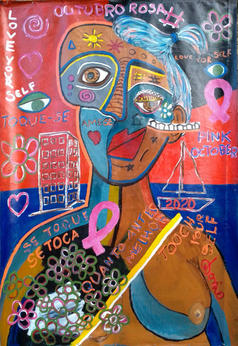 PINK OCTOBER, an important month for women all over the world, in recognition  of breast cancer. Brazilian artist, Antonio Souza created this figurative expression with a distorted face, showing a gap that is formed in the thought and in the presence of the women who are surprised by this disease. A disease from which there is often no return. Unable to return to a healthy life...but Antonio sees how prevention is the message he wants to send. PINK OCTOBER was painted on a digital canvas structured in cotto