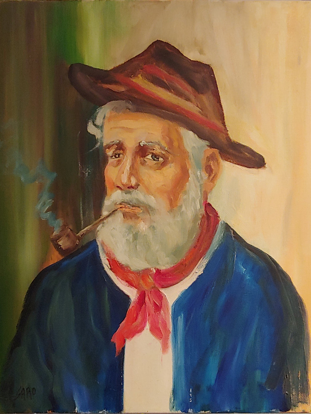 THE FISHERMAN / Original Canvas Painting - By Charles Garo Tatossian
