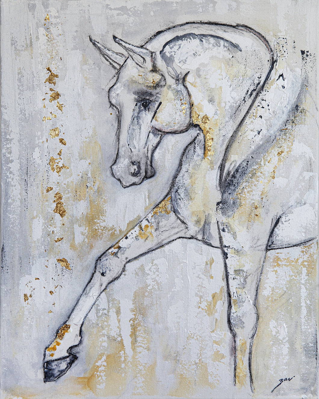 I have always been fascinated and passionate about horses. Painting these animals simply came naturally. Living on a farm surrounded by them I delved into their form. I want to show their majesty and magnificent while emphasizing their soft kindness and vulnerability. These animals are truly honest creatures. I wonder how the world would benefit from the lesson of the horse.  Artist: Zari Kazandjian  Medium: Acrylic and metallic leaf on canvas  Dimensions: 16