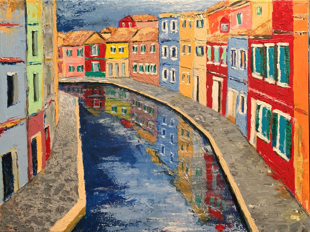 VENICE BACKWATERS /  Original Canvas Painting - By Andy Habib