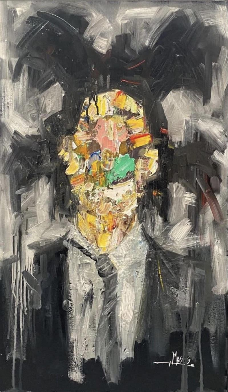 BASQUIAT  -- in his own way. Created by globally recognized emerging artist Moses Salihou     Artist: Moses Salihou  Medium: Oil on canvas  Dimensions: 36