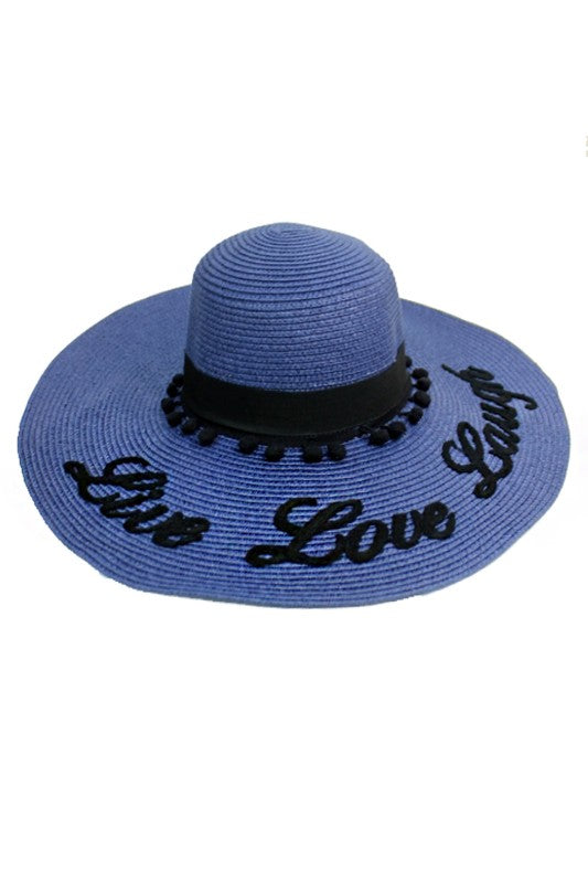 Live Love Laugh Floppy Sun Hat Blue