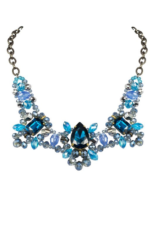 Shine So Bright Rhinestone Necklace Blue
