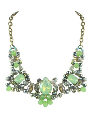 Shine So Bright Rhinestone Necklace Green