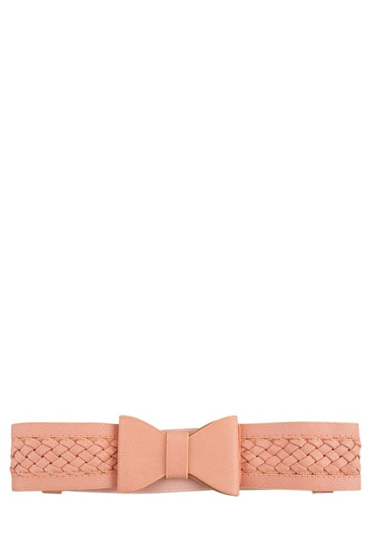 Braided Bow Belt Pink