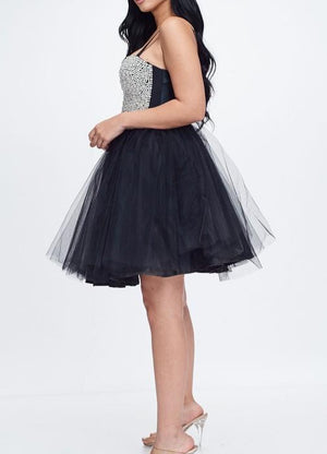 Girls In Pearls Tulle Corset Dress Black