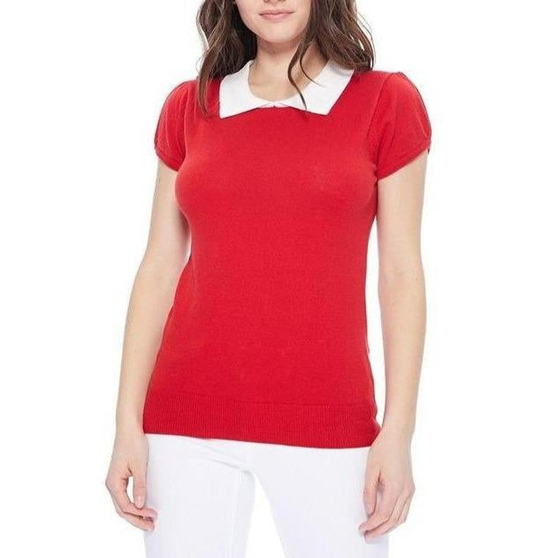 All You Need Classic Collar Top Red