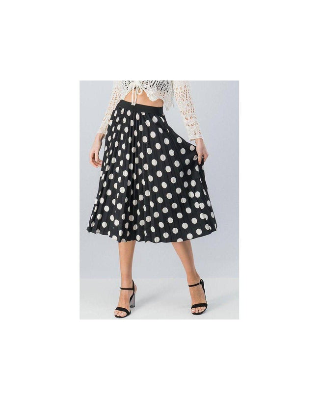 The Lucy Polka Dot Midi Skirt Black