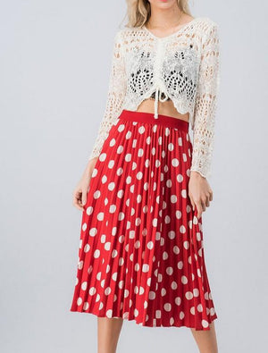 The Lucy Polka Dot Midi Skirt Red