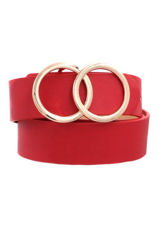 Ring my Bell Faux Leather Belt Red
