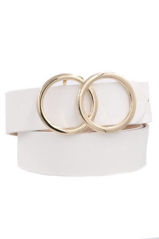 Ring my Bell Faux Leather Belt White