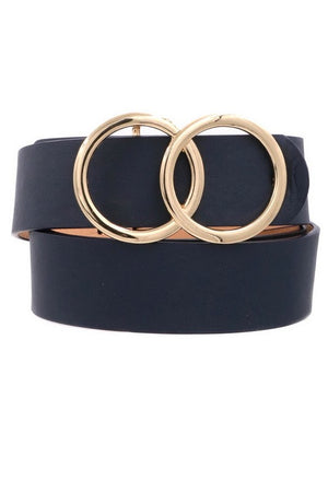 Ring my Bell Faux Leather Belt Navy