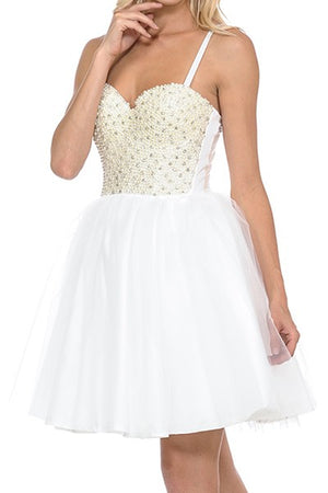 Girls In Pearls Tulle Corset Dress White