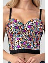 Rhinestone Jeweled Multi Color Corset Pink
