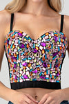 Rhinestone Jeweled Multi Color Corset Purple