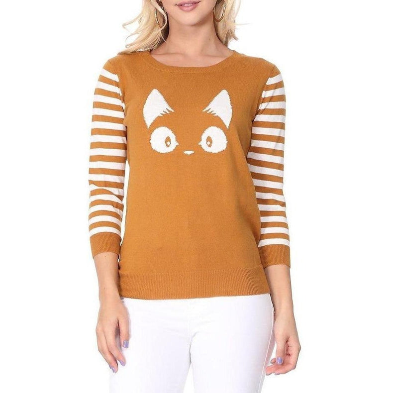 Crazy Cat Lady Stripe Sweater Mustard