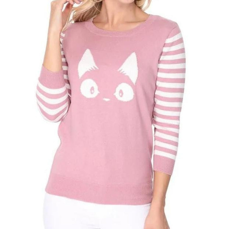 Striped Face  Sweater Pink