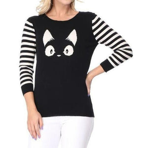 Stripe Face Sweater Black