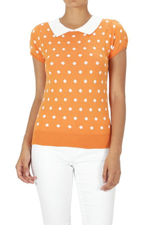 Pretty In Polka Dot Collar Top Yellow