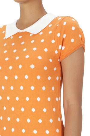 Pretty In Polka Dot Collar Top Tan
