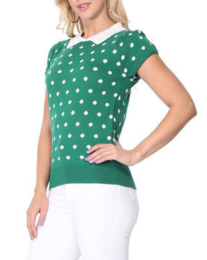 Pretty In Polka Dot Collar Top Pink