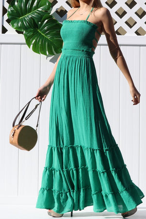 Crazy For You Smoked Maxi Dress Olive