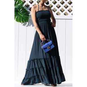 Crazy For You Smoked Maxi Dress Navy