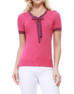 Ray Of Sunshine Bow Tie Top Plum Pink